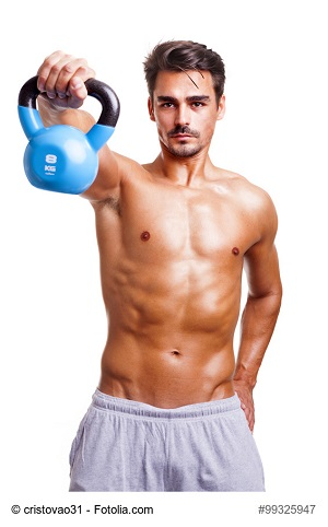 Fitness man exercising his shoulders, isolated on white background