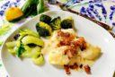 Fisch in sahne-Senf-Sauce