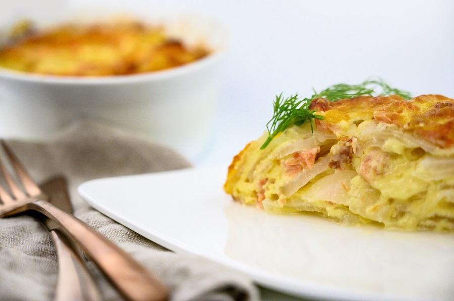 Lachsgratin - vegetarische Küche